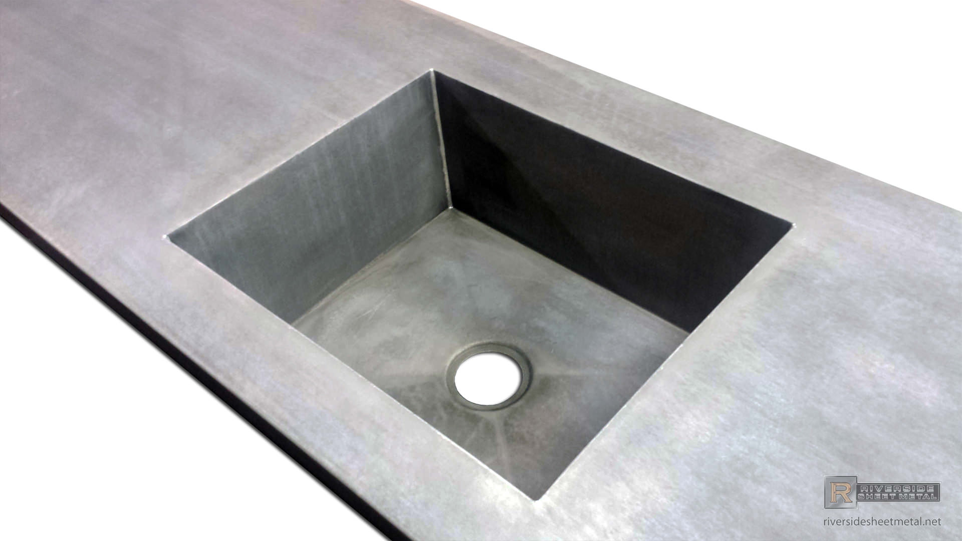 Zinc Counter Top With Integrated Sink And Dark Patina Matte Finish   View 2  ...