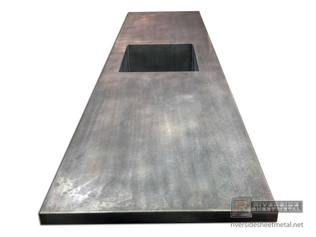 Zinc Counter Top With Integrated Sink Amp Dark Patina Matte