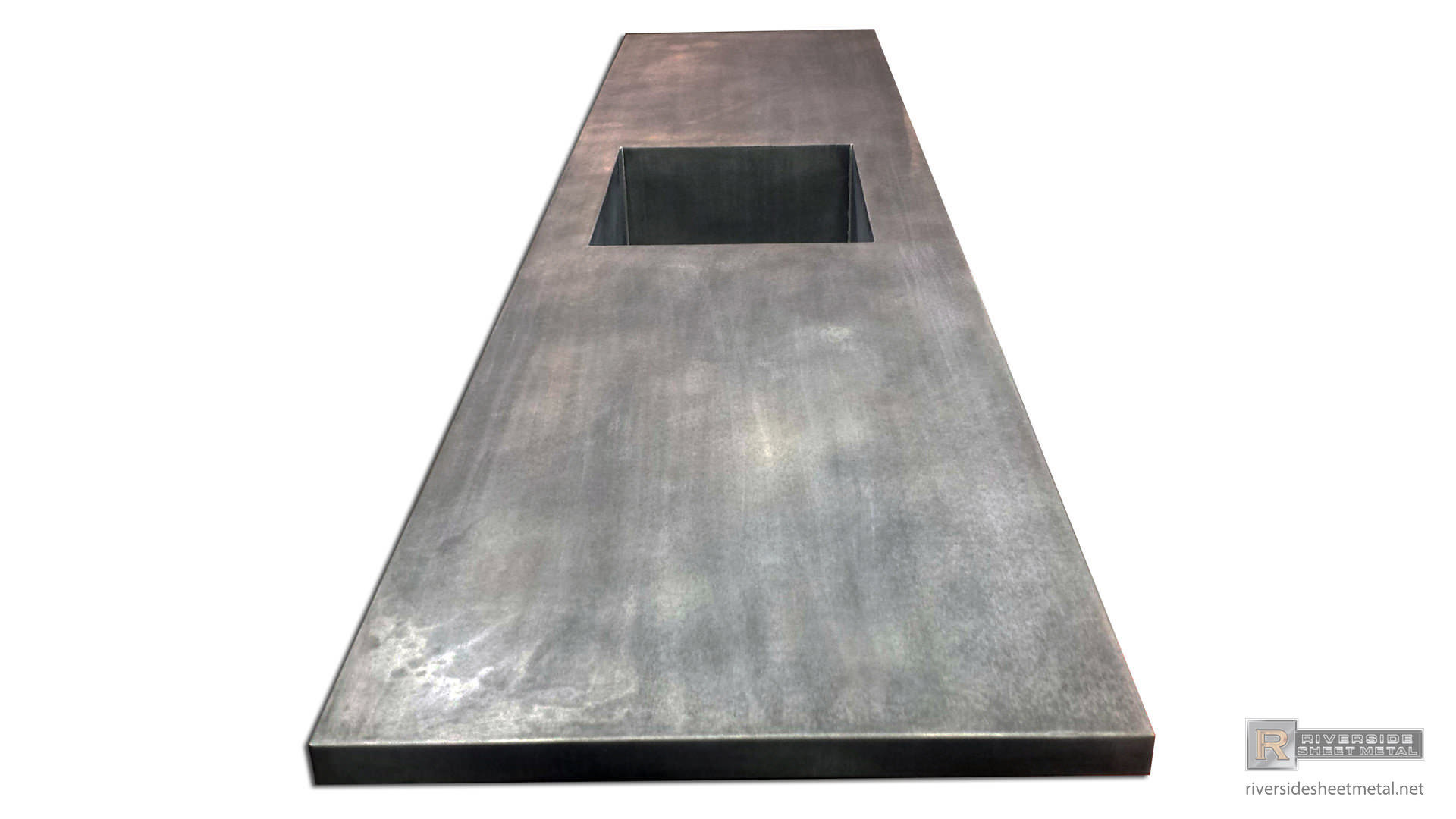 ... Zinc Counter Top With Integrated Sink And Dark Patina Matte Finish    View 3 ...