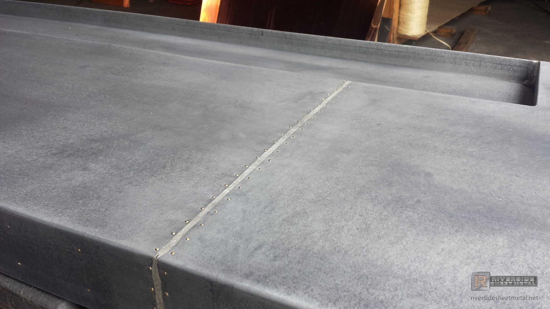 Dark Patina Zinc Bar Top With Drink Tray And Brass Pins