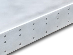 Zinc top with satin finish and stainles steel nails