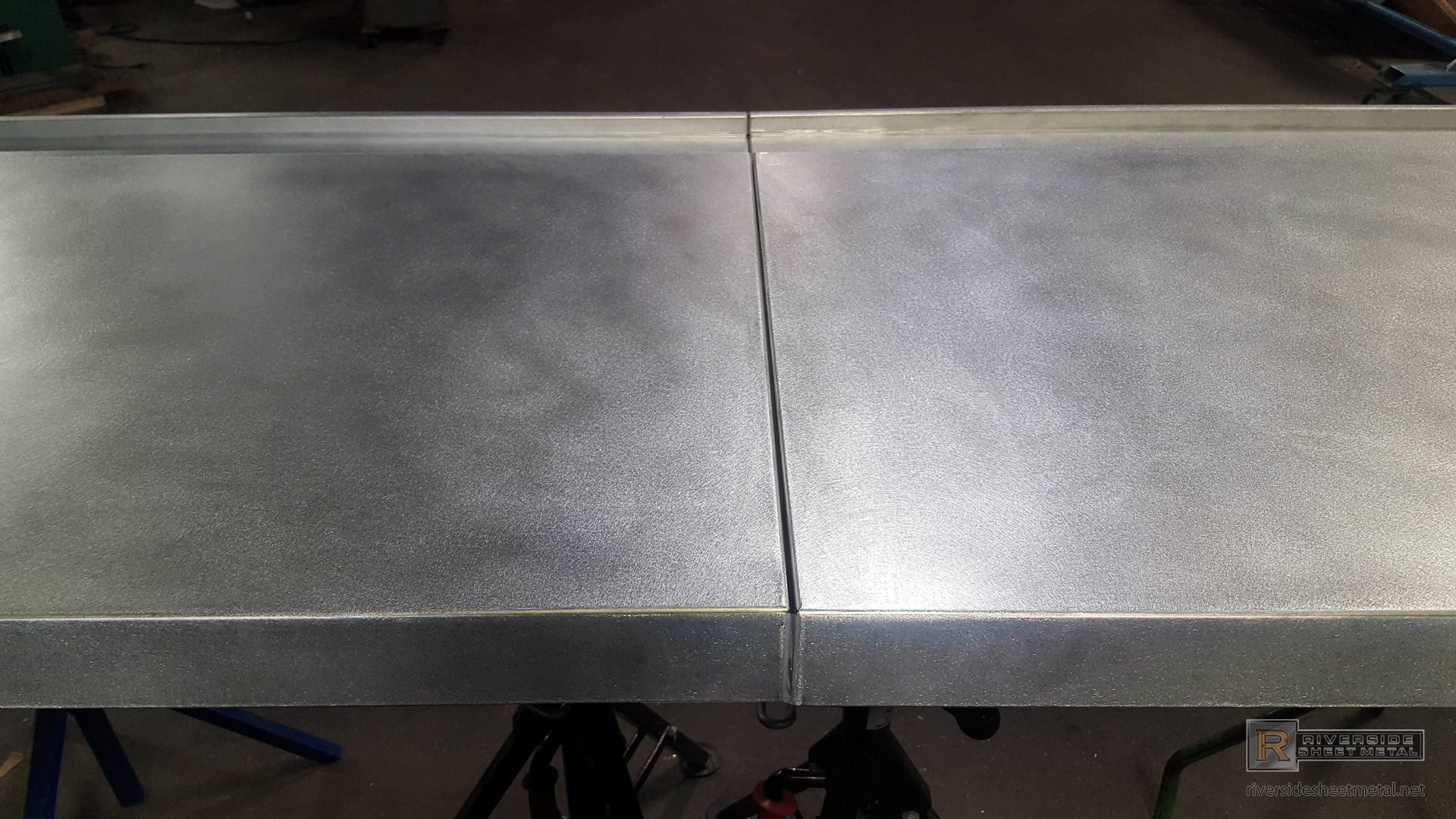 Zinc Bar Top With Drink Rail And Butt Joints