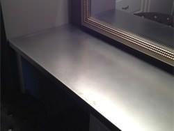 Zinc counter top installation