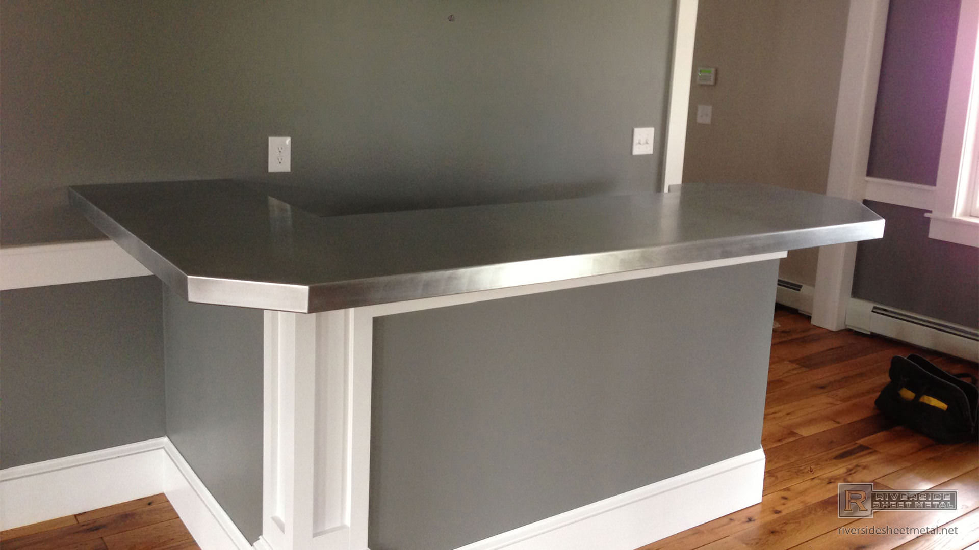 Zinc Bar Top L Shaped With 45 Degree Corner