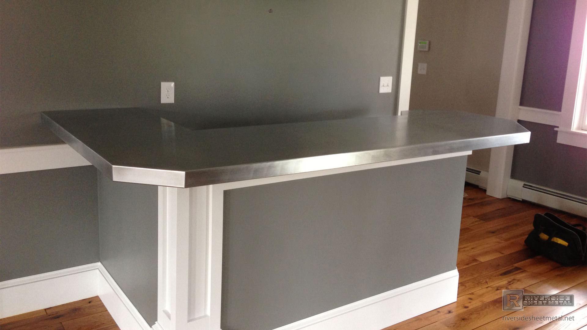 Zinc Bar Top L Shaped With 45 Degree Corner