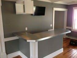 Zinc bar top l shaped with 45 degree corner installed