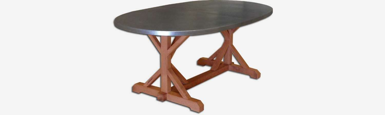 Zinc oval table top with wooden base