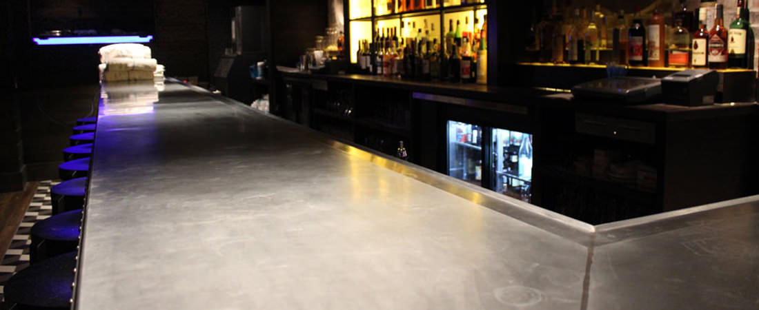 Zinc bar top for the Brass Union restaurant in Somerville - Photo by Alex Khatchad­ourian