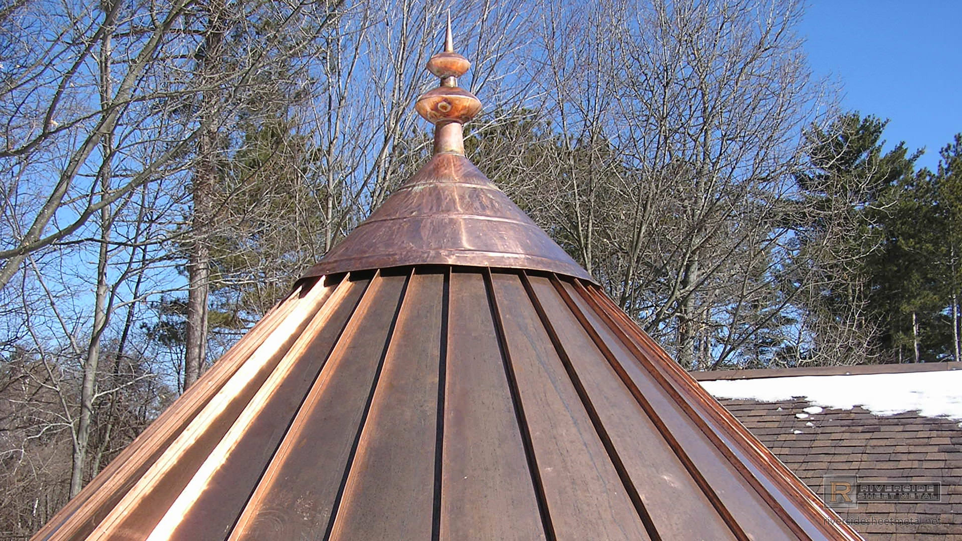 Custom Finial With Oval Details In Copper Fi017