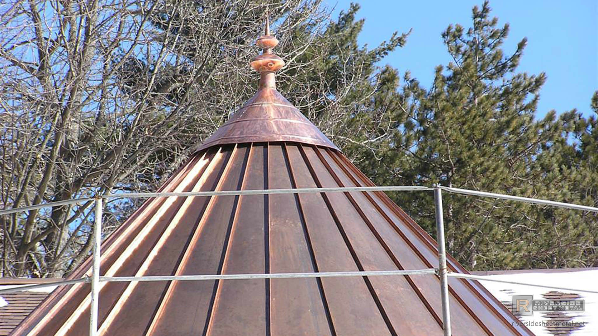 Copper Roof With Finial During Installation Cupolas And