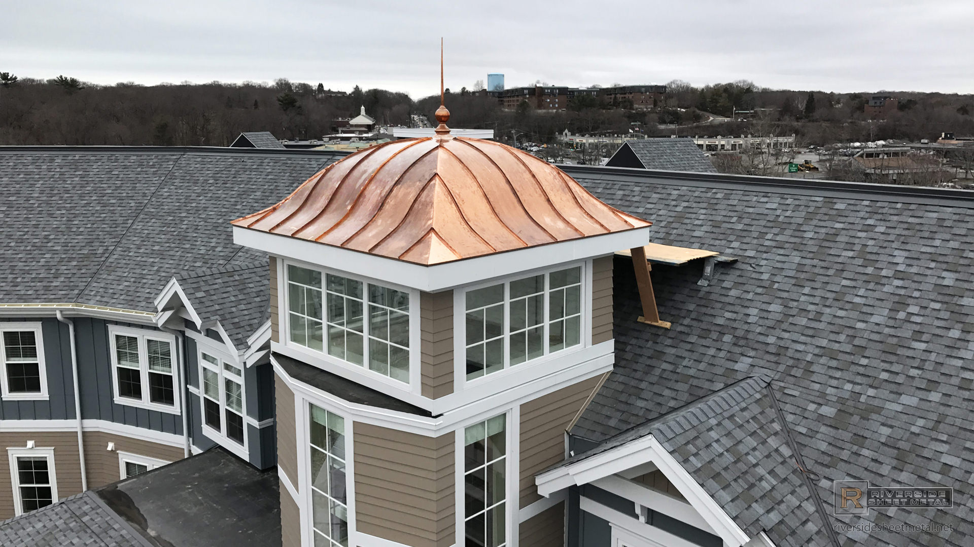 Copper Cupola Tower Eyebrow Roof Standing Seam Panels With Finial