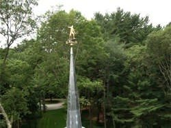 Lead coated copper steeple with weathervane