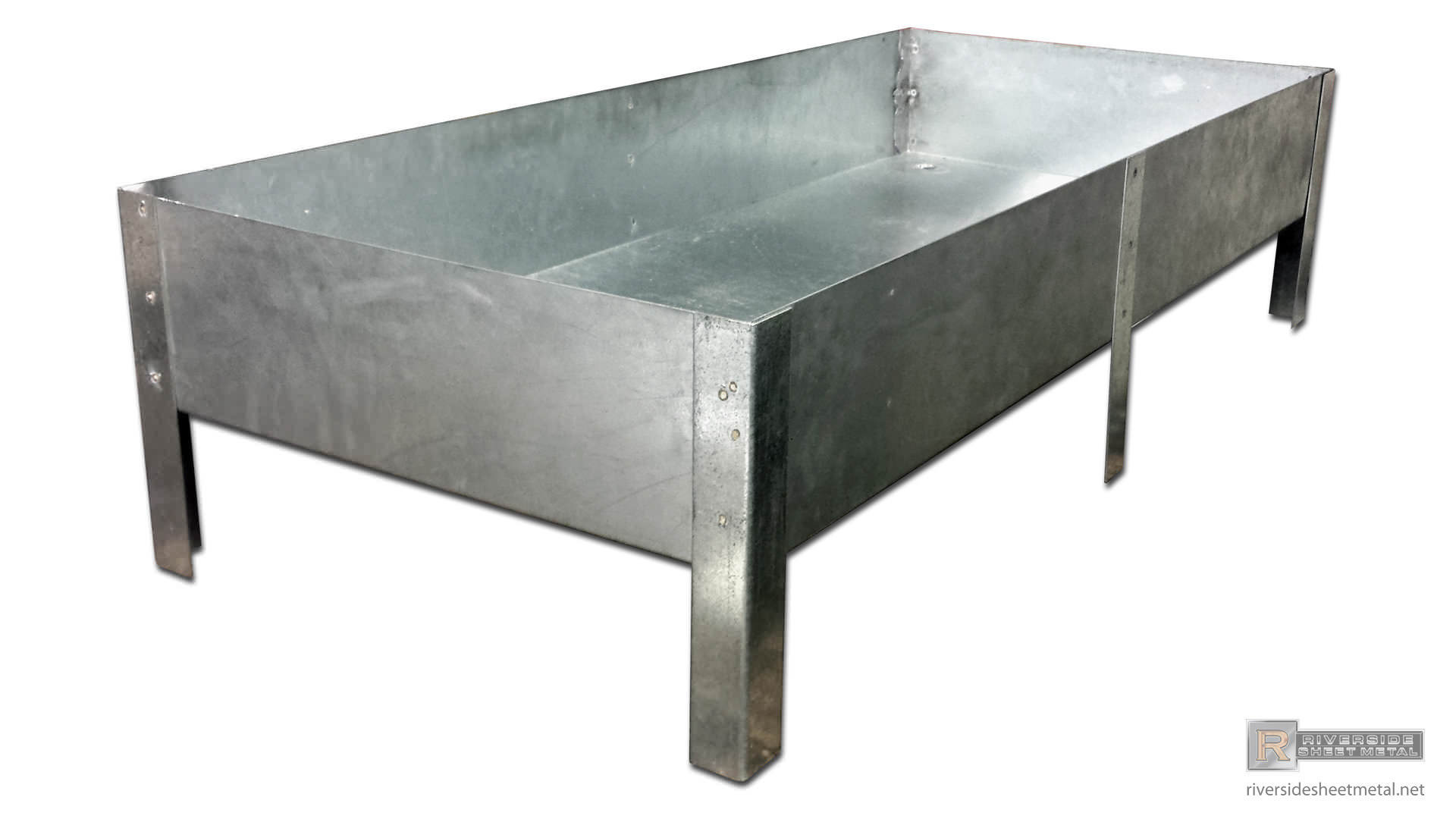 Watertight drip pan with legs Riverside Sheet Metal