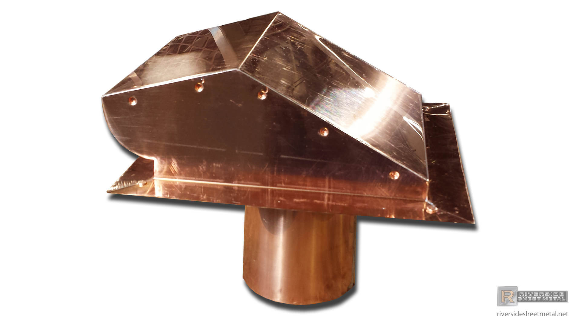 Custom Static Copper Dryer Vent With Flapper Riverside