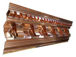 Custom copper cornice with dentil work and radius sections - view 1