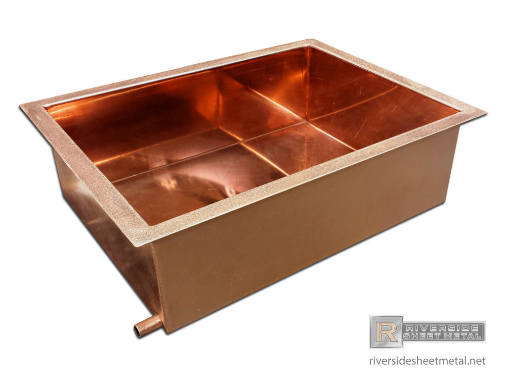 Custom Copper Ice Tray With Drain Pipe Welded Riverside