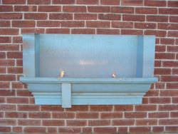 Custom made pre patina copper gutter section with cornice 1