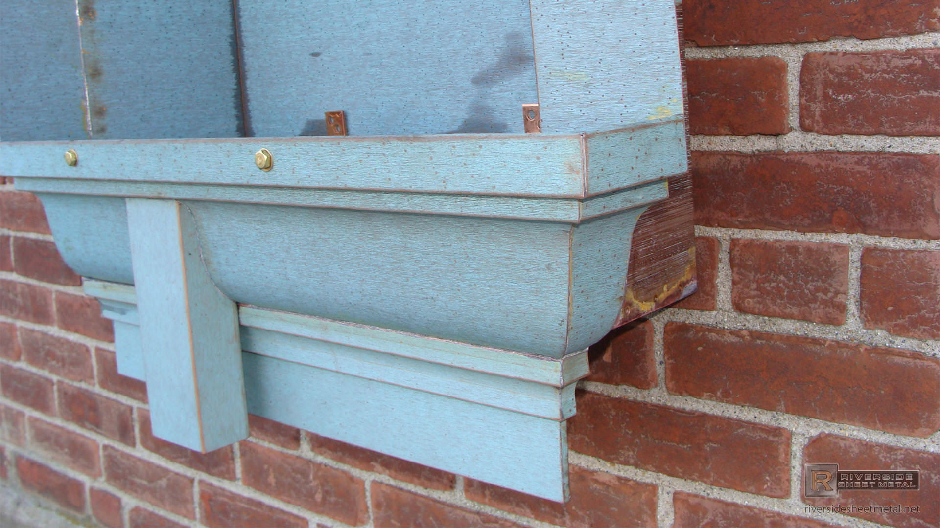 Custom Made Pre Patina Copper Gutter Section With Cornice