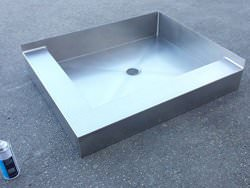 Custom stainless steel shower floor base