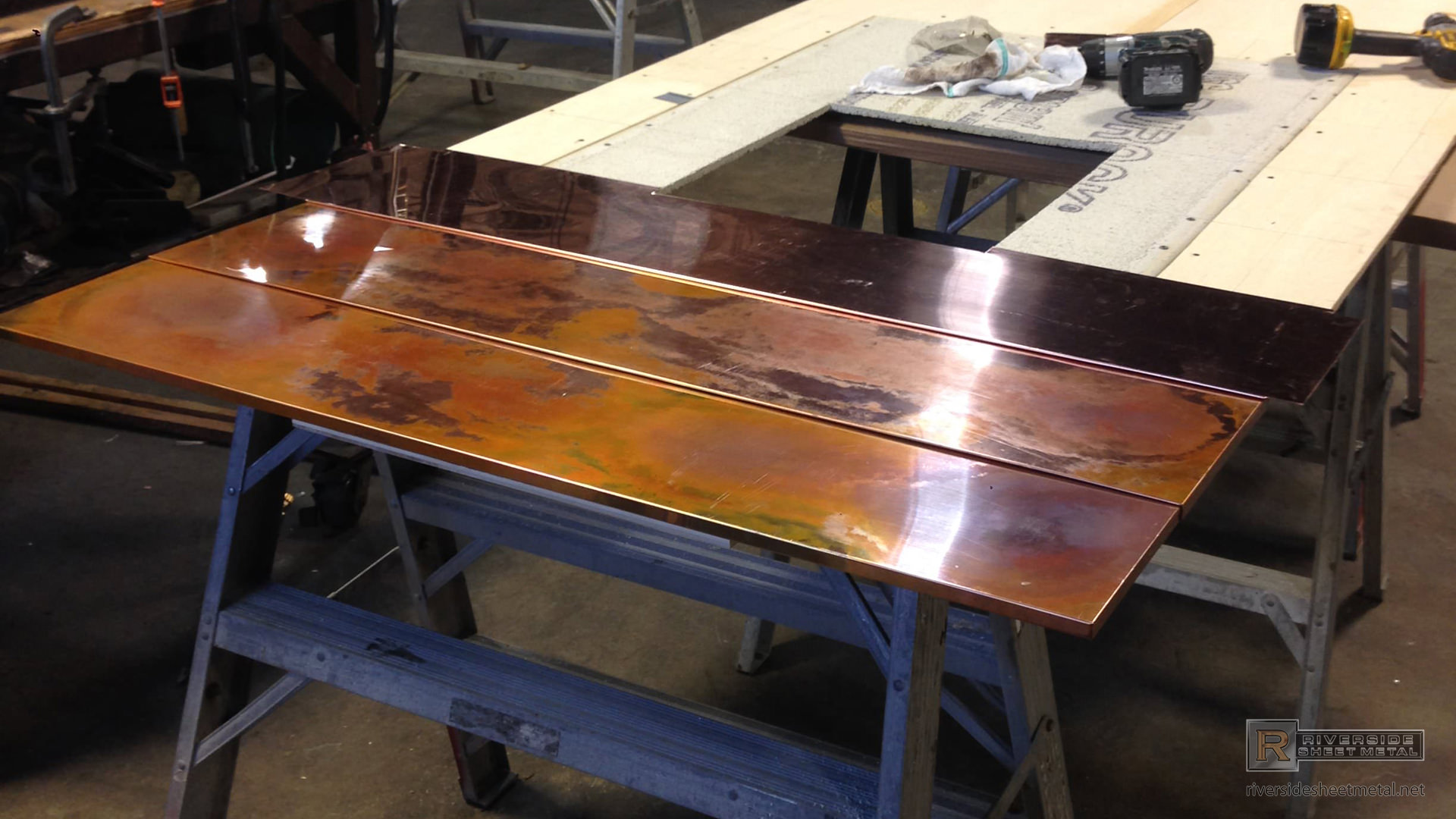 Burnished Copper Wall Panels For Fireplace Surround View 4