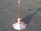 Octagon shaped copper finial with 2 copper balls - view 2