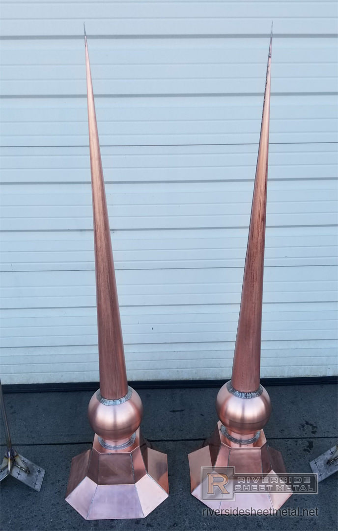 Pitched Octagonal Copper Finial With Ball And Cone Fi005