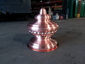 Custom detailed copper finial with round base and hand hammered details - view 2