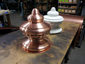 Custom detailed copper finial with round base and hand hammered details - view 3