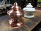 Custom detailed copper finial with round base and hand hammered details - view 4