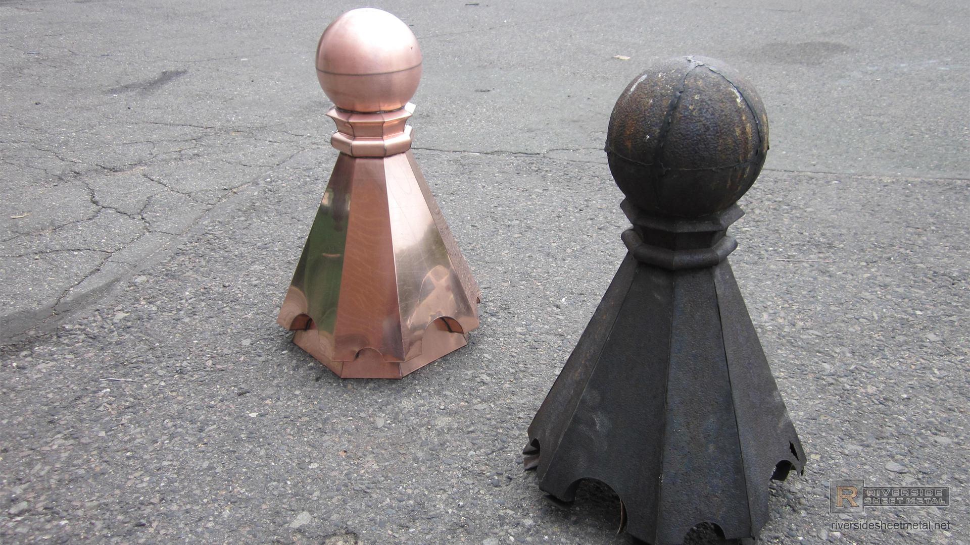 Copper Finial 8 Sided With Custom Radius Details Fi013