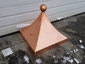 Square copper finial with curved design and ball - view 2