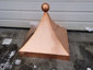 Square copper finial with curved design and ball - view 3