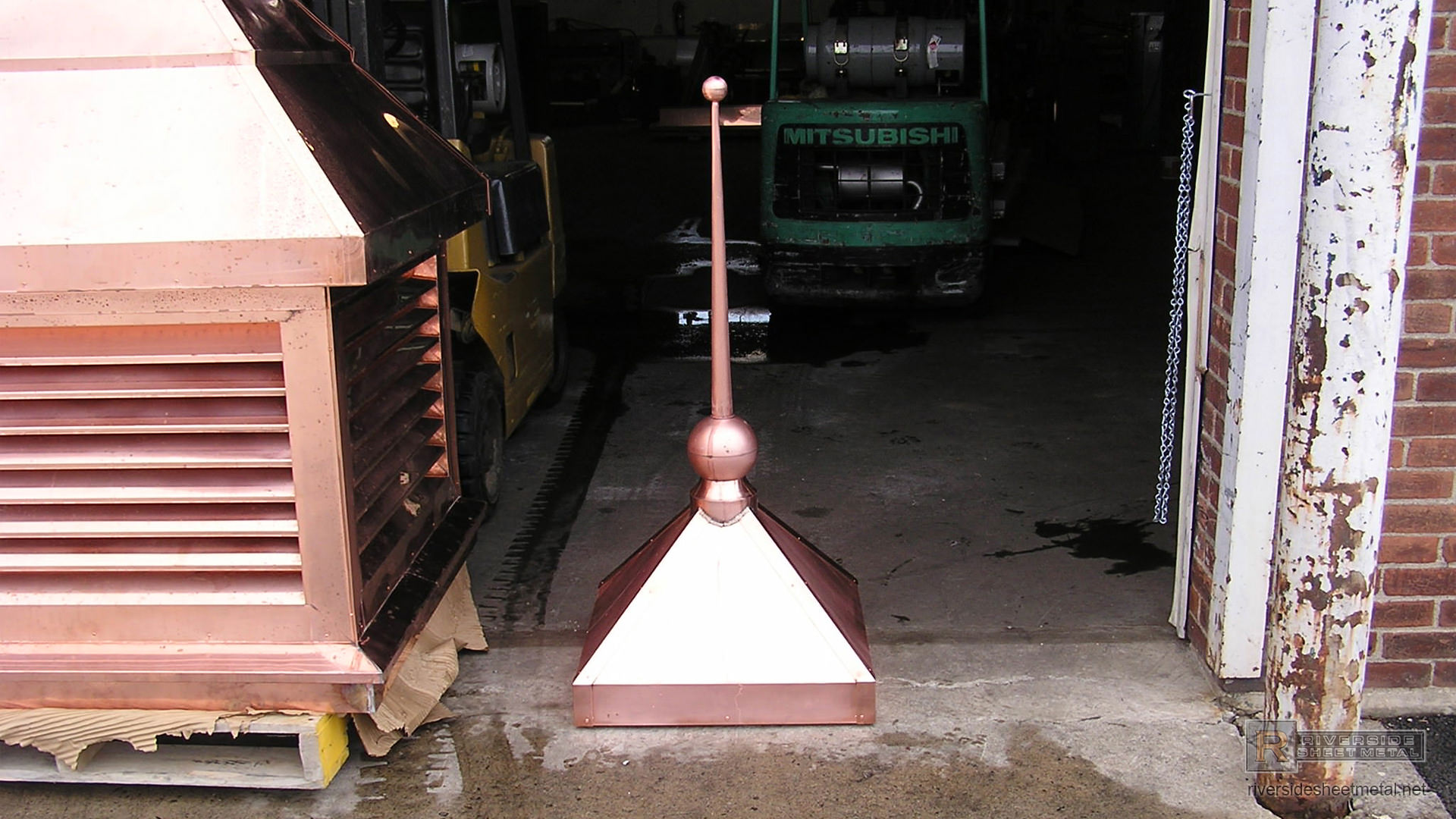 Rectangular Copper Finial With 2 Copper Balls And Cone