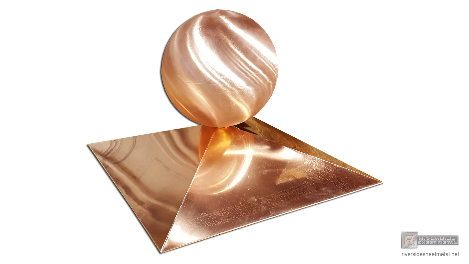 Simple Copper Finial With Rectangular Base And Ball Fi030