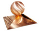 Simple copper finial with rectangular base and ball - view 2
