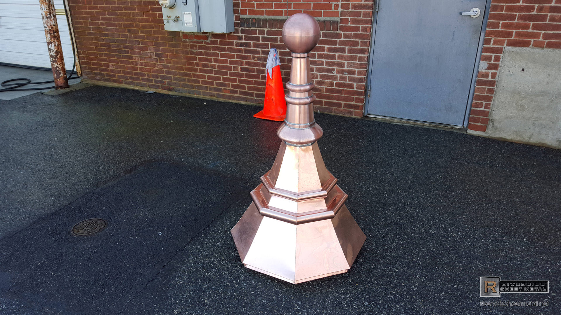 Custom Octagonal Copper Finial With Ball And Details Fi032