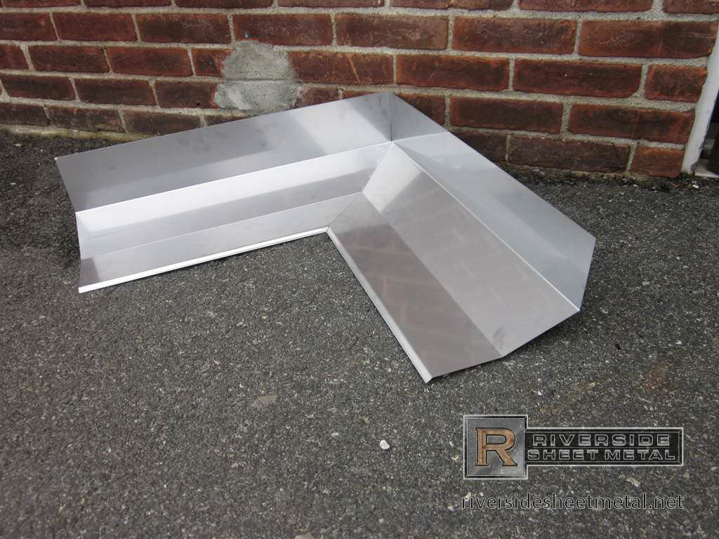 Custom made stainless steel miter for masonry - Flashing Metal