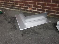 Custom made stainless steel outside miter for masonry