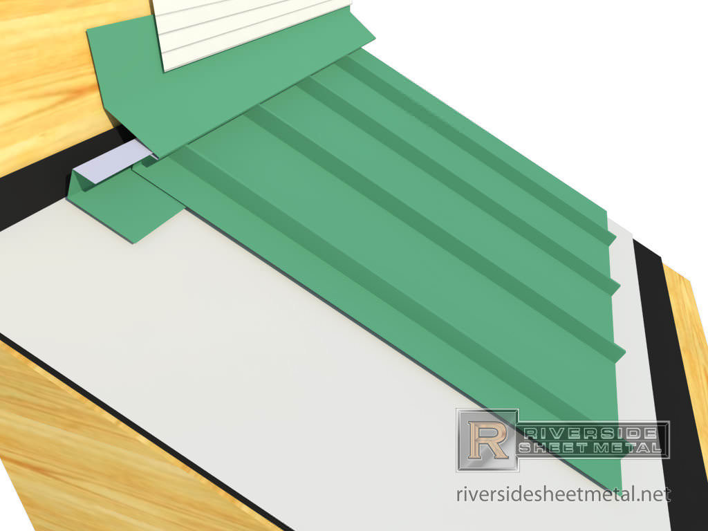 Head Wall flashing installation with metal roofing panels - view 2Roof Flashing Types