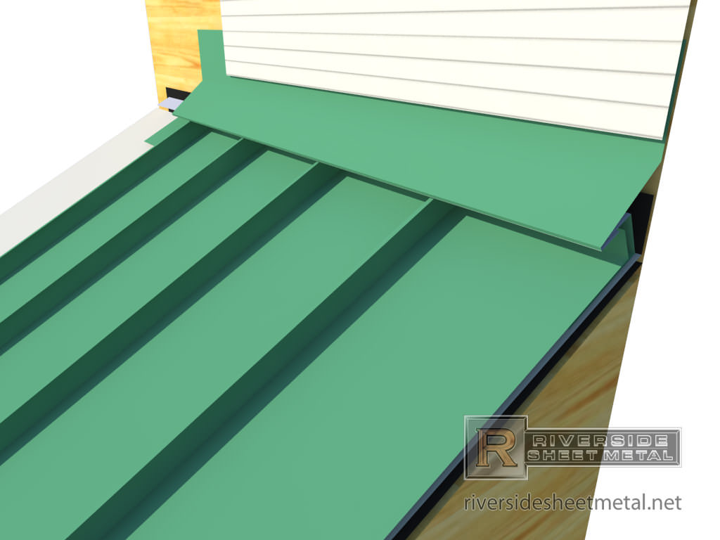 head wall flashing installation with metal roofing panels view 4 - Metal Roof Flashing
