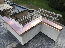 Custom copper parapet cap installation photo - view 2