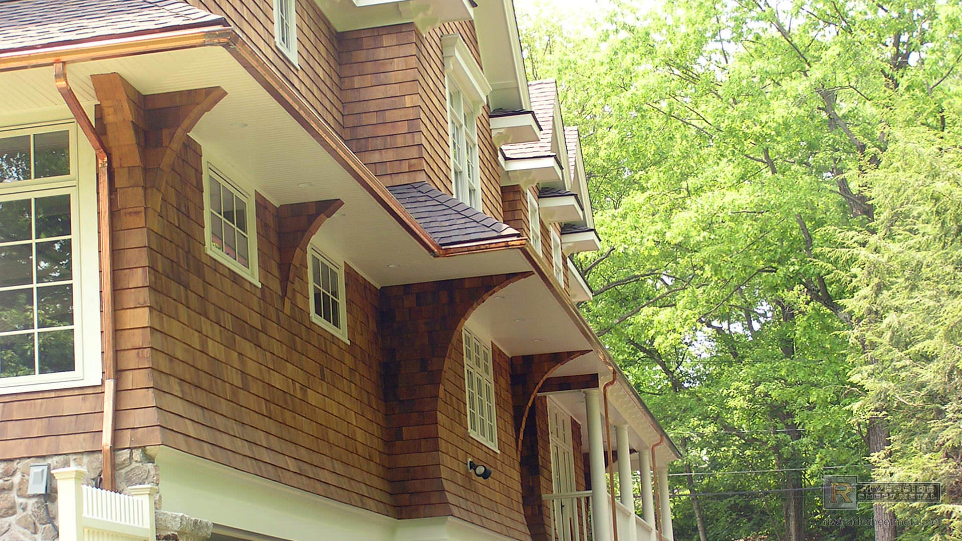 5 Inches Copper K Style Gutter Installation Riverside