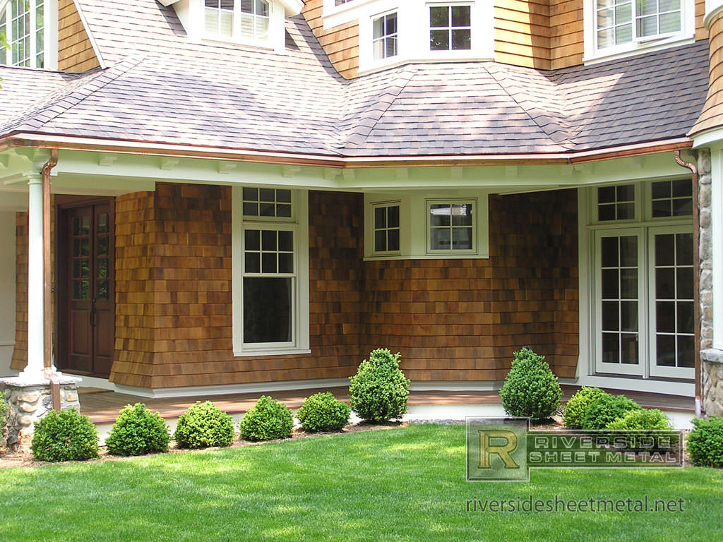 K Style Copper Gutter And Downspouts Installed Riverside Ma