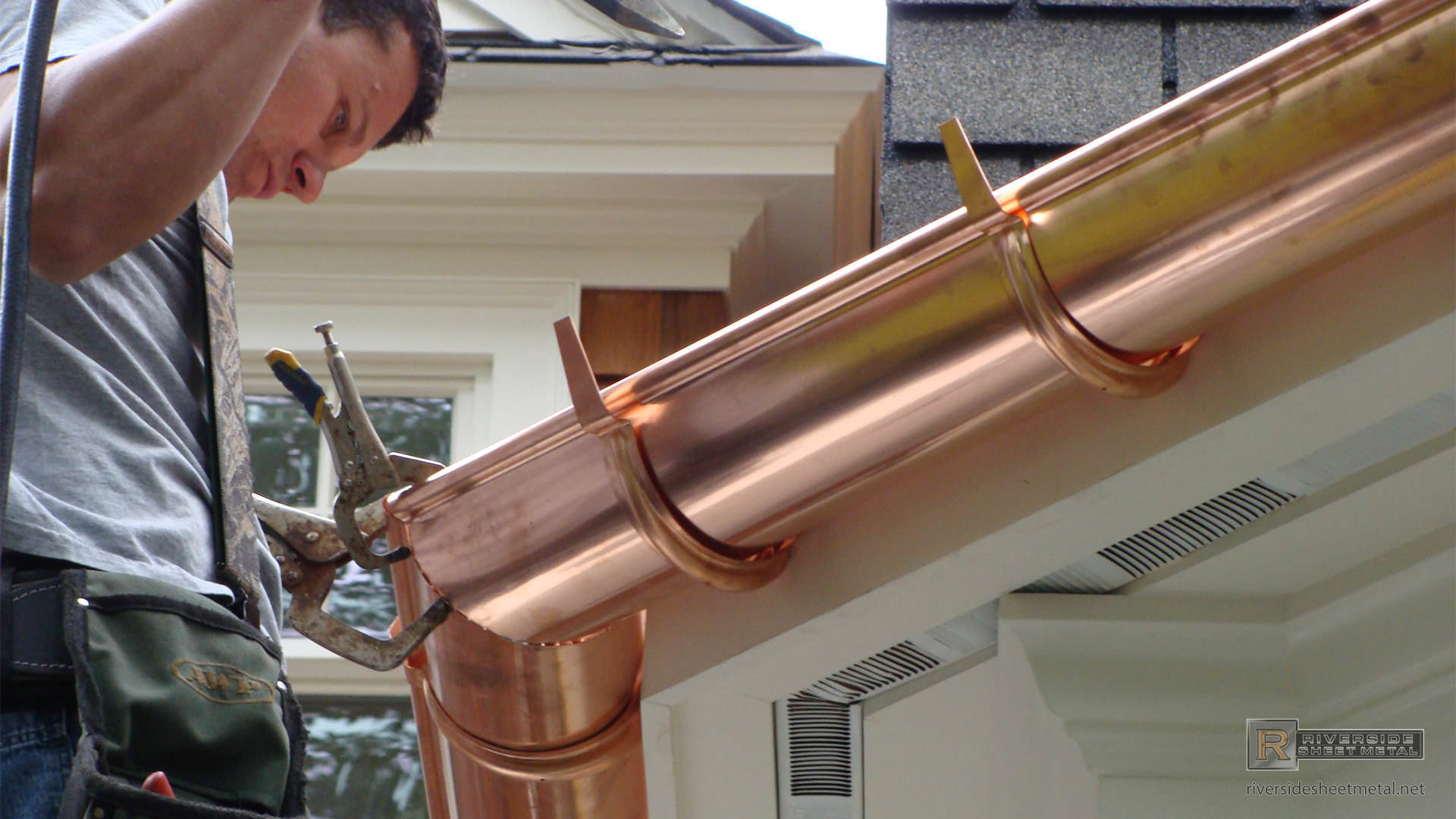 Half Round Copper Gutter With Under Mount Hanger Installation