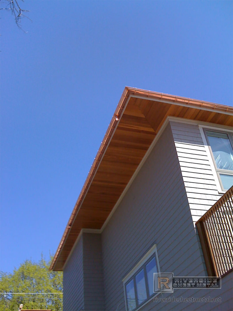 Half Round Copper Gutter Installation With Under Mount Hangers
