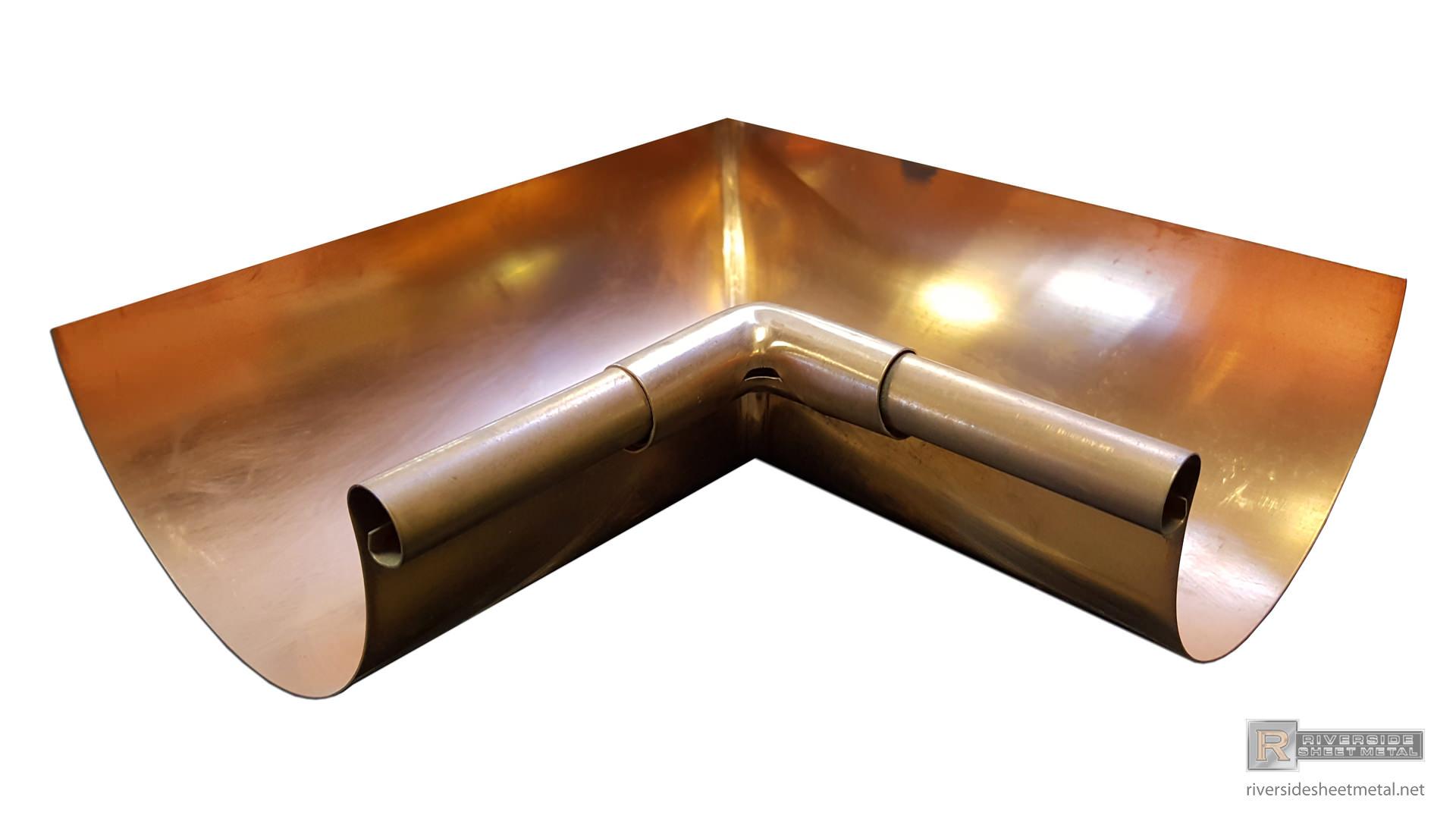 5 6 Half Round Copper Inside Box Miter 90
