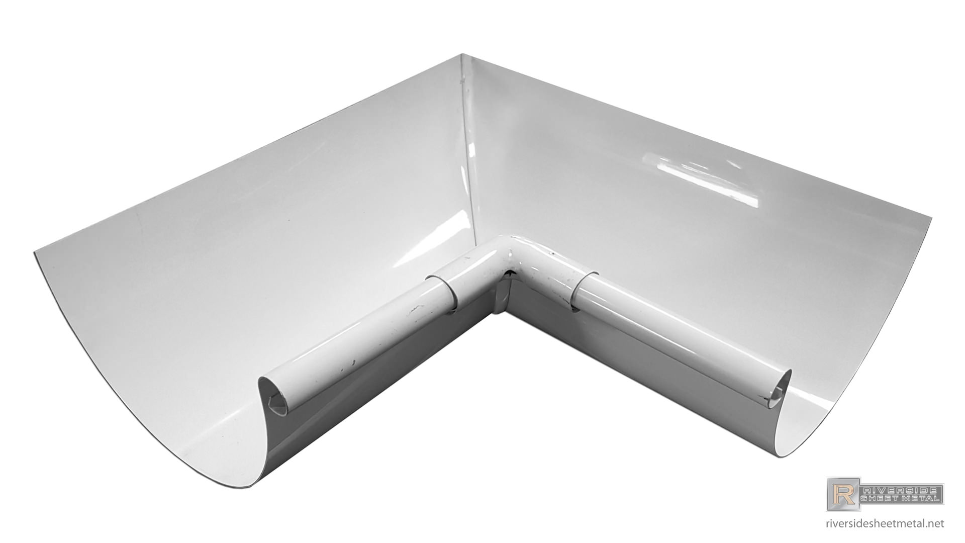Half Round Gutter Inside Box Miter White Aluminum
