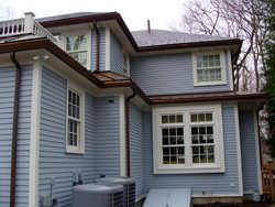 Ogee gutter installation in copper