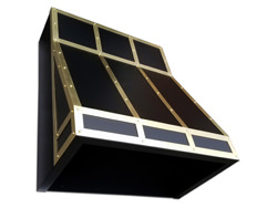 Custom hood vent powder coated black with brass bands