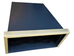 Black steel hood vent powder coated with brass band